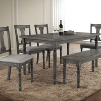 6 pc Wallace collection weathered washed blue finish wood dining table set