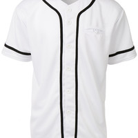 Mens Active Varsity Short Sleeve Button Down Baseball Jersey with Patch