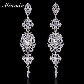 Floral Shape Silver Crystal Long Earrings for Women Wedding Bridal Charming Chandelier Drop Earrings Hot Selling EH182