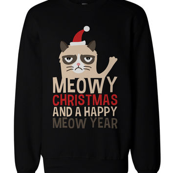 Grumpy Cat Funny Holiday Graphic Sweatshirts - Unisex Black Sweatshirt