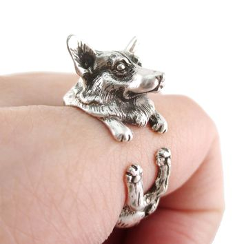 3D Realistic Welsh Corgi Puppy Dog Shaped Animal Wrap Ring in Silver | US Sizes 6 to 9