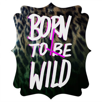 Leah Flores Born To Be Wild Quatrefoil Clock