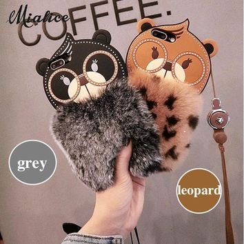 For iphone X 6 6s 7 8 plus  Luxury Cute Cartoon Squirrel Leopard Grey color soft Rabbit fur furry lanyard phone case cover