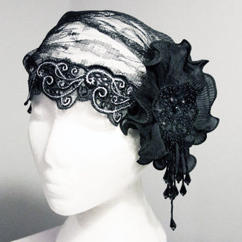 Black Silver Cap - 20s Inspired Lace Tulle Flower Hat - The Great Gatsby Wedding 1920 Art Deco Flapper Cap