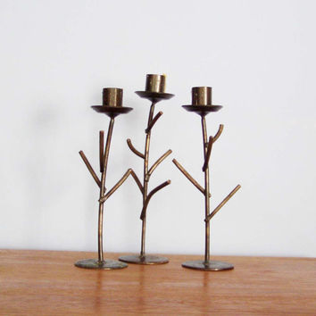 Vintage wrought iron candlesticks, set of three, twig shaped black iron candle holders, early nineties