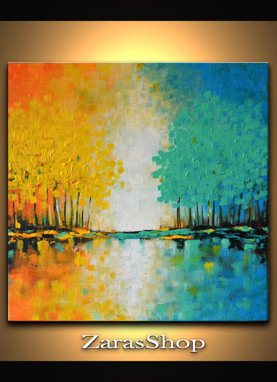 Colorful Abstract Orange Yellow Blue From Modernartnyc On Etsy