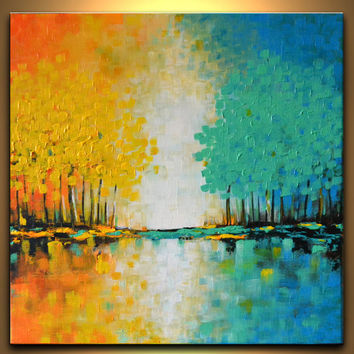 Colorful abstract orange yellow blue green landscape trees painting contemporary canvas art 16x16 modern home office dorm wall decor
