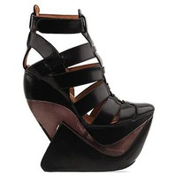 Jeffrey Campbell Zoya in Black Leather Clear at Solestruck.com