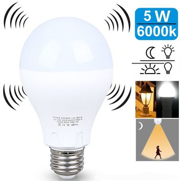 LED LIGHT BULB W/ RADAR MOTION SENSOR 180 Deg 5w/50 Watts