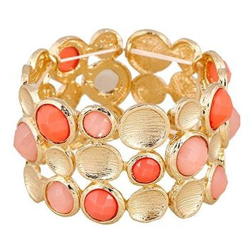 lureme Drawing Personality Gold 3 Rows Round Pink Coral Resin Stone Elastic Stretch Bangle Bracelet06002905