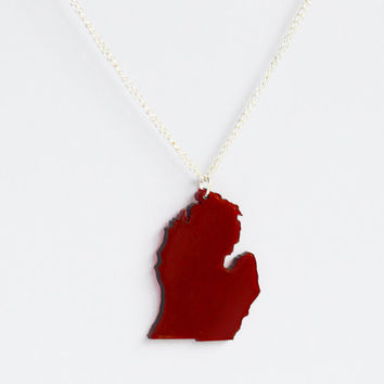 Transparent red laser cut acrylic Michigan state pendant charm necklace on delicate silver or gold curb chain