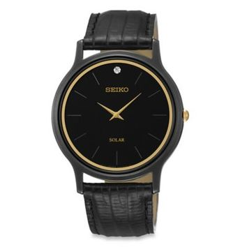Seiko Men's Black Ion Finish Solar Watch in Stainless Steel with Diamond Accent and Leather Strap