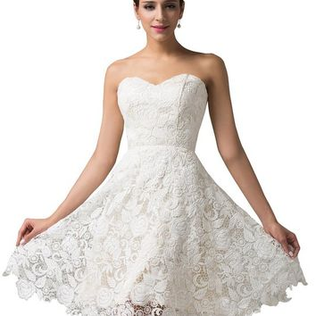 Grace Karin® Women Strapless Off White Lace Satin Evening Wedding Prom Dress