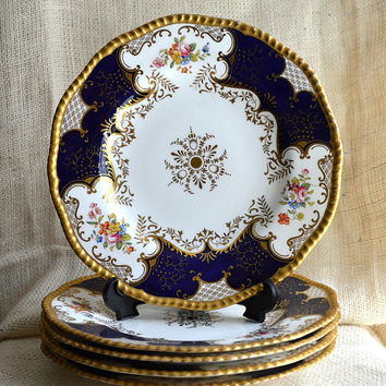 5 pc Batwing Panel Cobalt Blue Luncheon Plate// Coalport Bone China // Antique Gilded Floral Pattern // Luncheon Plate
