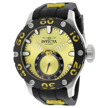 Invicta 12705 Men's Russian Diver Yellow Accent Bezel Yellow Dial Rubber Strap Dive Watch
