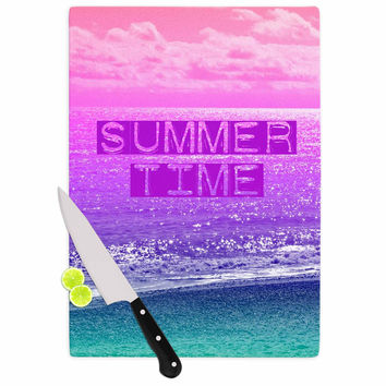"Alison Coxon ""Summer Time"" Pink Typography Cutting Board"