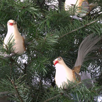 1950s Christmas Ornaments, Made In Japan Christmas Ornaments, White Flocked Clip On Bird Ornaments