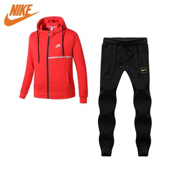Nike fashion round neck long sleeve suit black and red