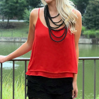 Apple of My Eye Pleated Camisole - Red