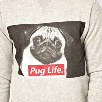 Criminal Damage Sweatshirt With Pug Life Print at asos.com