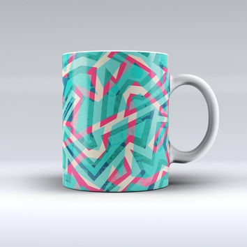 The Trippy Retro Pattern ink-Fuzed Ceramic Coffee Mug