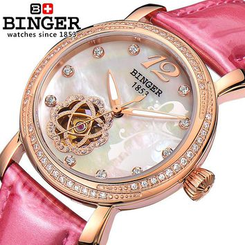 Switzerland Binger Women's watches fashion luxury clock leather strap automatic winding mechanical Wristwatches B-1132L-3