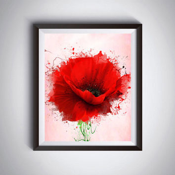 Red Poppy, Wall Decor, Abstract Art, Flower Painting, Modern Min