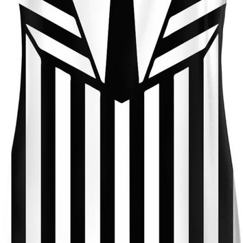 Beetlejuice suit like simple dress, black and white vertical stripes pattern, halloween style