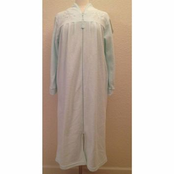Miss Elaine Brushed Back Terry Zip Front Robe 866093BT Aqua Small