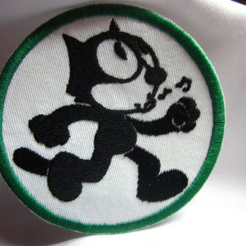 Felix the cat whistle iron on patch