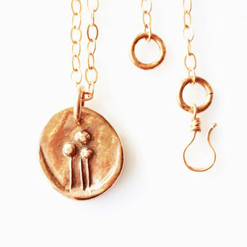 Long Copper Necklace, 28 inch with Handmade Copper Pendant, Original Design Artisan Jewelry, Women's Necklace, Gift for Her, Layering