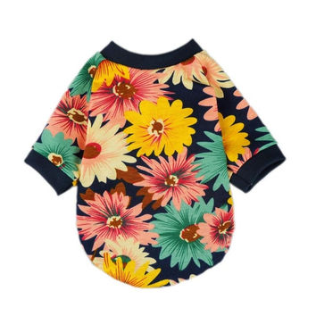 Fashion Summer Floral Dog T-shirt for Pet Dog Clothes Cozy Apparel = 1929980420