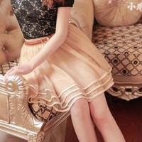 [Free Shipping to USA] Layered Tulle Skirt BF605 Beige