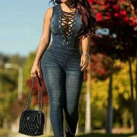 Straps Cross Hollow Out Scoop Short Sleeves Long Denim Jumpsuit