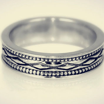 Diamond Cut Design Sterling Silver Band, Oxidized Silver Band, Silver Band, Silver Ring, Custom Handmade Ring, Silver Ring 925