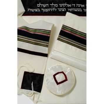 Fancy Black Maroon Green Wool Tallit