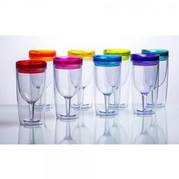 Cupture Cupture Insulated Wine Tumbler Cup With Drink-Through Lid - 10 oz, 8 Pack