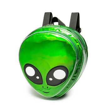 2017 Cute Alien Backpack Green Laser Girls School Bag for Teenagers Women Backpack Harajuku Style Cartoon Animal Mochilas