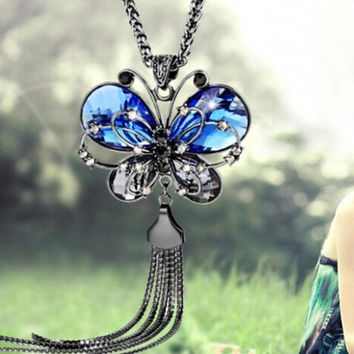 Large Statement Piece Butterfly Pendant Necklace Gunmetal Black