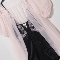 Sexy Pink and Black Peignoir Set.  Black Satin Baby Doll Paired with a Pink   Chiffon Short Robe Honeymoon or Just be Sexy