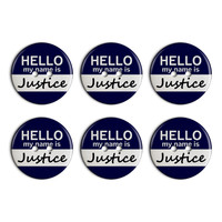 Justice Hello My Name Is Plastic Resin Button Set of 6