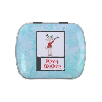 Christmas Reindeer In An Ugly Sweater Whimsical Jelly Belly Tins