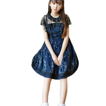 Sky Constellation Gothic Lolita Dress Dark Blue JSK Veil Tunic Night Angel Pattern Short Sleeve Dresses Girls Sweety Gifts AW354