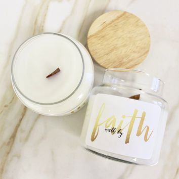 Walk By Faith Wood Top Candle