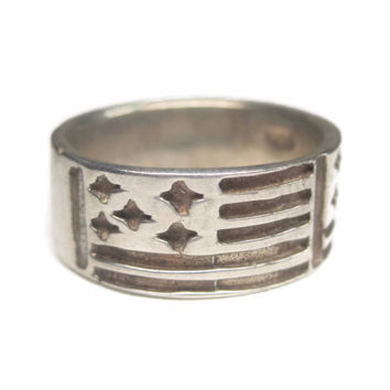 Wide Vintage Sterling Flag Band Ring Size 5