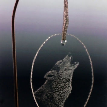 Holiday howling wolf christmas ornament Personalized Christmas ornament decoration glass
