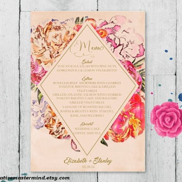 DIY Wedding Menu Template Printable, Editable PDF Template, Instant Download, Digital, Elegant Painted Floral #1CM79-1