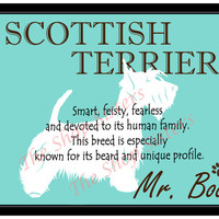 Scottish Terrier Print Dog Choose Breed Personalize Silhouette 8 x 10 Print Wall Art customize pet FREE SHIPPING