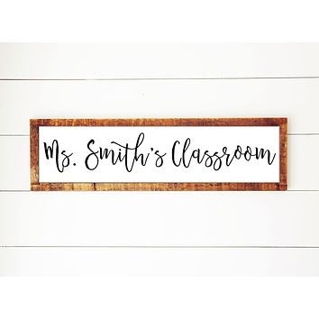 Teacher's Classroom | Personalized Handmade Reclaimed Antique Wood Framed Print