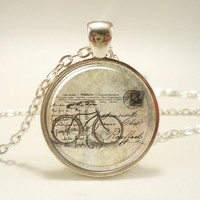 Bicycle Necklace, Hipster Vintage Style Bike Pendant, Silver Plate ......
